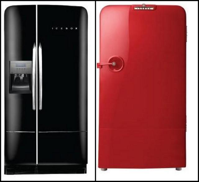 geladeira retr a preta uma icebox side by side e a vermelha. Black Bedroom Furniture Sets. Home Design Ideas
